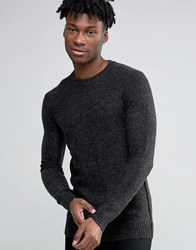 Selected Homme Knitted Mohair Crew Neck Dark Grey