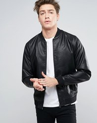 Jack And Jones Bomber Jacket In Faux Leather Black