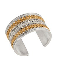 Lucky Brand Pave Peacock Tribal Cuff Bracelet Mixed Metal