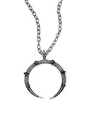 Bavna Diamonds 1.17 Tcw Black Spinel And Sterling Silver Pendant Necklace 17In Black Silver