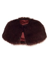 Chesca Faux Fur Luxury Shrug Red