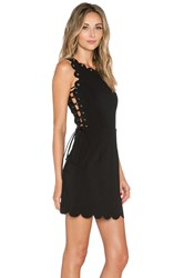 Lavish Alice Scallop Lace Up Mini Dress Black