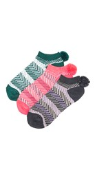 Free People 3 Pack Pom Pom Socks Botanical Combo
