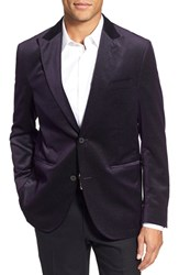 Men's Big And Tall Flynt Stitched Velvet Blazer Purple