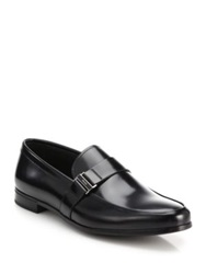 Prada Spazzolato Leather Side Buckle Loafers Black