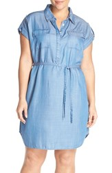 Plus Size Women's Two By Vince Camuto Tencel Lyocell Chambray Shirtdress