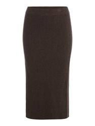 Linea Limited Knitted Rib Skirt Chocolate