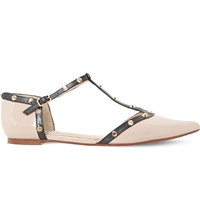 Dune Heti Studded Leather Pointed Flats Nude Patent
