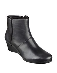 Easy Spirit Lorcie Leather Wedge Ankle Boots Black
