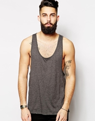 Asos Vest With Extreme Racer Back Charcoal