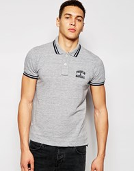 Franklin And Marshall Pique Polo Shirt With Tipping Greysportmelange