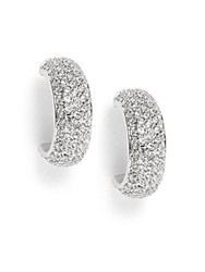 Swarovski Studded Rhodium Plated Post Back Earrings No Color