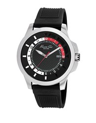 Kenneth Cole Mens Transparent Stainless Steel And Silicone Strap Watch Black