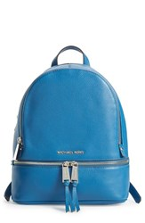 Michael Michael Kors 'Small Rhea Zip' Leather Backpack Blue Steel Blue
