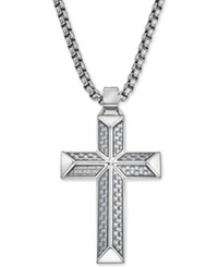 Esquire Men's Jewelry Cross Pendant Necklace In Gray Carbon Fiber And Stainless Steel First At Macy's