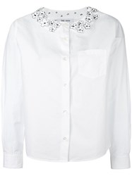 Jimi Roos Flower Applique Shirt White