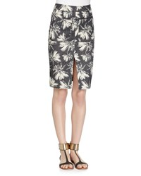 L'agence Palm Tree Print Denim Pencil Skirt Linen Palm Mdnght