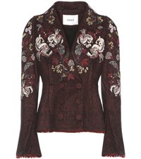 Erdem Marsha Embroidered Tweed Blazer Black