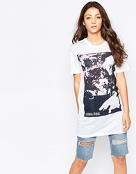 Criminal Damage Paint Print T Shirt Whitemulti