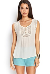 Forever 21 Woven Peasant Top Cream