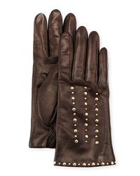 Portolano Studded Leather Gloves Chocolate