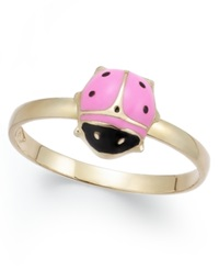 Macy's Children's Pink And Black Epoxy Ladybug Ring In 14K Gold