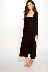 Boohoo Bandeau Jumpsuit And Duster Co Ord Set Black