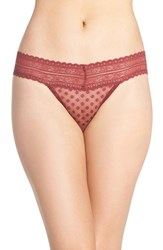 Free People Women's Lace Trim Thong Wine