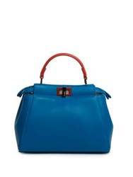 Fendi Peekaboo Mini Two Tone Leather Satchel Lime Royal Blue Pink