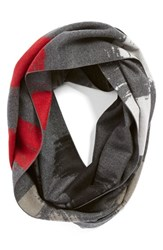 Women's Chelsey 'Clouds' Silk Infinity Scarf Grey Black Grey Red Silver