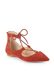 Saks Fifth Avenue Estyn Suede Lace Up Point Toe Flats Bronze