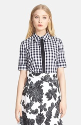 Tanya Taylor Print Short Sleeve Shirt White Black