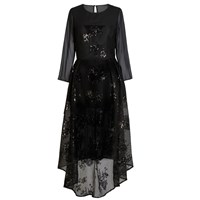 Jelena Bin Drai Sequin Net Chiffon Dress Black