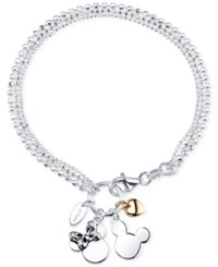 Disney Two Tone Mickey And Minnie Mouse Charm Bracelet In Sterling Silver And 14K Gold Plated Sterling Silver