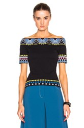 Peter Pilotto Day Knit Off Shoulder Top In Black Abstract