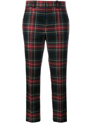 Gucci Tartan Wool Cropped Trousers Red Multi Coloured