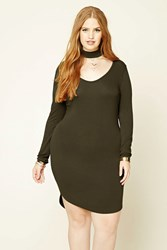 Forever 21 Plus Size Bodycon Choker Dress Olive