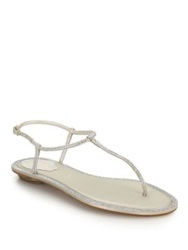Rene Caovilla Swarovski Crystal And Satin Thong Sandals Beige