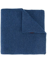 Polo Ralph Lauren Logo Embroidered Ribbed Scarf Blue