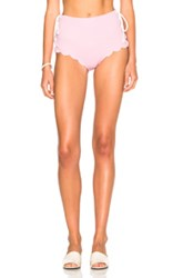 Marysia Swim Fwrd Exclusive Palm Springs Lace Up Bikini Bottom In Metallics Pink Metallics Pink