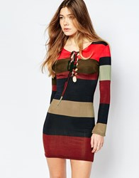 Daisy Street Striped Dress With Lace Up Front Multi