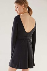 Ecote Bell Sleeve Scoop Back Cupro Mini Dress Washed Black