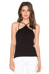Heather V Back Silk And Rib Tank Black