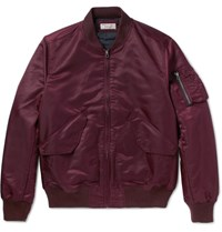 J.Crew Wallace And Barnes Satin Shell Bomber Jacket Burgundy