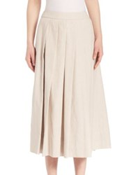 Pauw Linen Pleated Skirt Light Beige