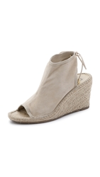 Dkny Diane Lace Up Suede Wedge Booties Sand