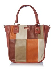 Ollie And Nic India Tan Multi Patch Tote Bag