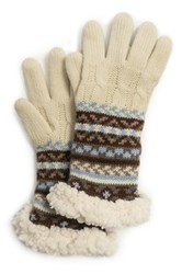 Muk Luks Fairisle Cable Faux Fur Trim Gloves Beige