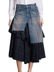 Junya Watanabe Ruffled Plaid And Denim Skirt Indigo Navy