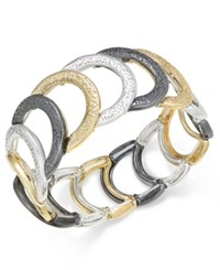 Charter Club Tri Tone Glittery Link Bracelet Only At Macy's Multi